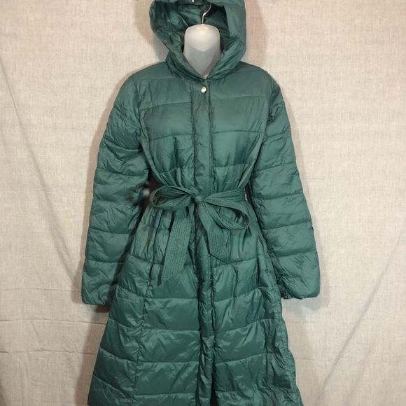 Cole Haan Green Long Winter Puffer Coat